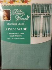 NEW Kitchen Curtain Valance Set, Teal Gingham Check Country Rustic Cafe Panels