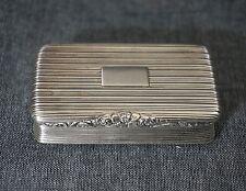 NATHANIEL MILLS Sterling SNUFF BOX Gold Wash Interior Birmingham 1824-1825