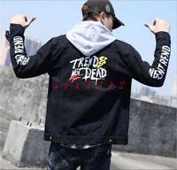 Men Coat Jacket Lapel Denim Letter Short Fashion Casual Korean Slim Fit Outwear