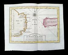 1747 BELLIN -rare map of SOUTH AMERICA, TIERRA DEL FUEGO, LE MAIRE STRAIT, BAHIA