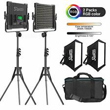 Upgrade RGB Led Video Light, 2 Packs Bi-color Photography Lighting with Softbox