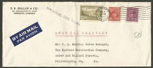 Canada 1947 Special Delivery Airmail Cover 17c War/Peace Toronto Ont Corner Card