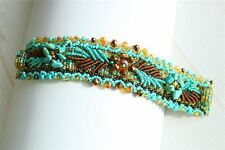 BR311132 Magnet Clasp Weaving Leaves Beads Czech Turquoise Crystal Bracelet Cuff