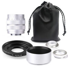 Fujian 35mm F1.7 CCTV TV cine  lens for Canon EOSM EF-M Mirrorless Camera SILVER