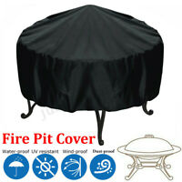 Patio Round Fire Pit Cover UV Waterproof Protection 44'' Black Outdoor Grill