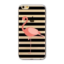 Clear Flamingo Pattern Soft TPU Silicone Back Case Cover For iPhone 6 6s 7 Plus