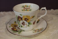 BEAUTIFUL SPRINGFIELD BONE CHINA ENGLAND TEA CUP AND SAUCER - AUGUST PANSIES