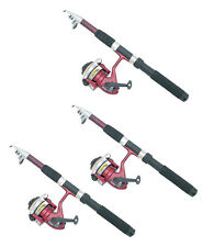 Set of 3 Telescoping Collapsible Rod Poles + Spinning Reels For CATFISH Fishing