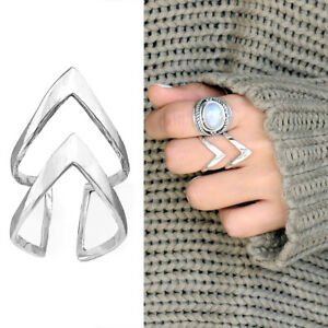 925 Sterling Silver Ring Double Chevron Triangle Geometric Arrow Adjustable Size