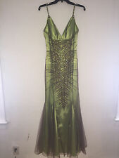 Faviana Couture Womans Gown Beaded/Green/Brown Size 8 EUC