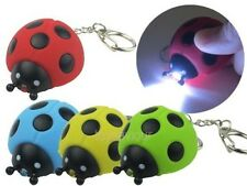 Ladybug Ladybird Key Chain Ring with LED Light and Sound Kid Toy gift