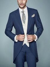 Custom Navy Morning Suit Bespoke Groom Best Men Wedding Tuxedos Formal Tail Coat