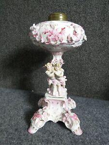 Dresden Germany Porcelain Figural Cherub Oil Lamp