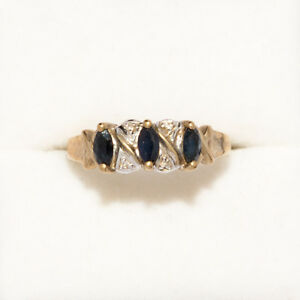9 ct Gold 3 Sapphires .6 ct Ring Size 8 AUST P.5 weight 2.6 grams