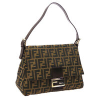 FENDI Zucca Pattern Mamma Baguette Hand Bag Brown Canvas Leather Auth BN04030