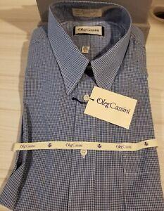 Oleg Cassini Men's Dress Shirt 16 34/35 Blue
