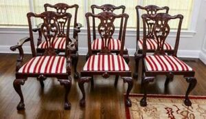 Set of 6 Baker Chippendale Style Mahogany Dining Chairs Ball and Claw Feet
