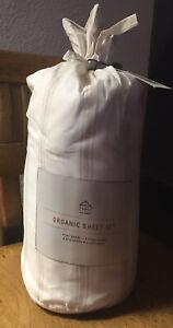 Hearth & Hand Full Sz Sheet SET Tic Stripe Organic Cotton. Sour Cream / Pebble