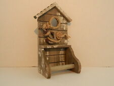 SHABBY CHIC DISTRESSED WOODEN TOILET ROLL HOLDER SEASIDE NAUTICAL BATHROOM