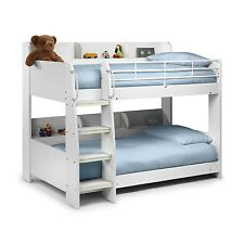 Modern Kids White Wooden Julian Bowen Domino Bunk Bed  + Storage Shelves