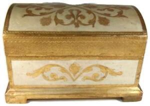 Vintage Florentia Florentine Italy Gilt Wood Jewelry Box Treasure Chest