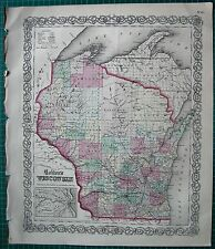 1855 LARGE ANTIQUE MAP-COLTON- WISCONSIN