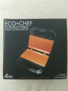 New in Box Eco + Chef Contact Grill, 760W, Copper Series, Ceramic Nonstick Appli