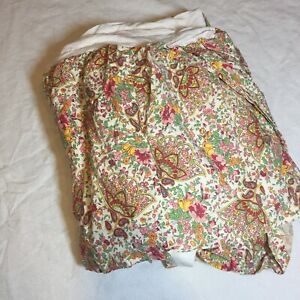 """King Size Bedskirt Sundance Floral Pink Yellow Red Green 16"""" Drop Cotton"""