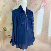NEW Michael Kors Women's Midnight Blue Buckle Zip Blouse Size Large