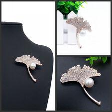 Vintage Rhinestone Flower Wedding Bridal Bouquet Crystal Apricot leaf Brooch Pin