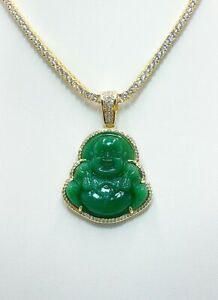 Real Buddha green jade hand made best quality pendent Gold & White gold finish
