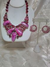 Artisan Crafted Pink Agate & Garnet Bib Necklace & Earring