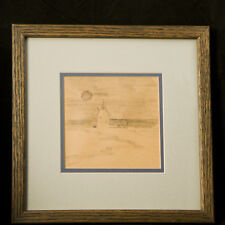 "PRIMITIVE ""COUNTRY BARN WITH MOON"" PENCIL SKETCH BY VA ARTIST JOHN S. LOVERRO"