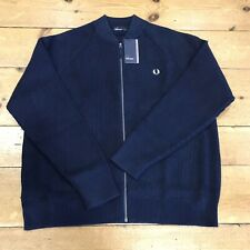 Fred Perry Bomber Neck Cardigan Deep Carbon - XXL