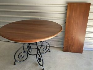 ETHAN ALLEN Maison Round Dining Table With Leaf, Black Iron Scroll Base