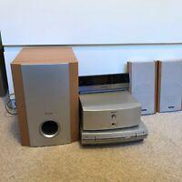 Vintage Pioneer Stereo System Satellite Speakers Sub Woofer And External Display