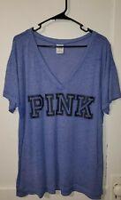 Victorias Secret PINK Blue V Neck T Shirt Sz Large