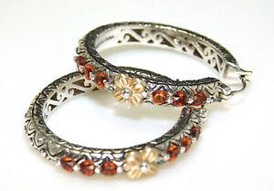 Barbara Bixby 925 Sterling & 18K Gold Citrine Hoop Earrings