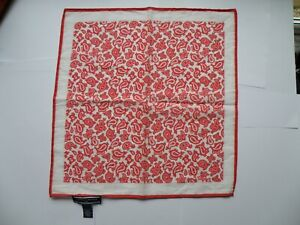TOMMY HILFIGER RED POCKET SQUARE PAISLEY POCHETTE HANDKERCHIEF MADE IN ITALY