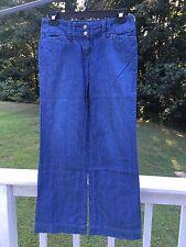 Ann Taylor LOFT Petites Sailor Style Jeans Womens 0 Slight Flare 2-Button Zip 0P
