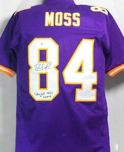 Randy Moss Autographed Purple Pro Style Jersey w/ Insc- Beckett W Auth *MB8