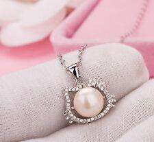 """18"""" Chain Hello Kitty 10mm Sea shell Pearl Topaz Pendant Silver Necklace Box E16"""