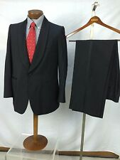41R W38 I31 Vtg Harrods Black Tuxedo 1960's Kid Mohair & Wool Shawl Collar