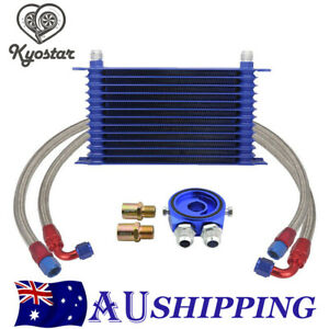 13Row 10AN Engine Transmission Oil Cooler & Filter Adapter & Hose Kit Universal