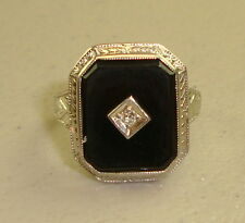 Antique Victorian 10k White Gold Black Onyx & Diamond Ring, Size 5.5