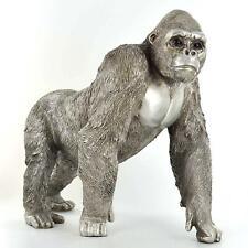More details for antique effect silver gorilla sculpture statue decor wildlife gift ornament