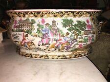 Vtg Sign Chinese Porcelain Koi Fish Bowl Planter Jardiniere Antique Famille Rose