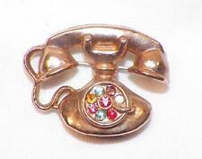 Vintage Dial Telephone Pin Multi Color Rhinestones Goldtone Metal Cute!