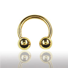 1,0mm GOLD Piercing Hufeisen Circular Barbell Ohr Lippe Lippenbändchen Piercing