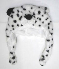 Cartoon Animal Fluffy Plush White Leopard Winter Hat Earwarmers
